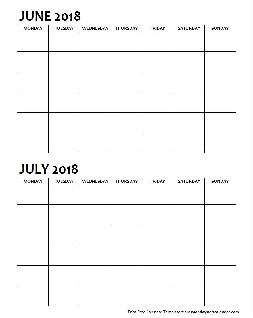 Two Month June July 2018 Calendar Blank | Calendar June inside Blank Two Month Calendar