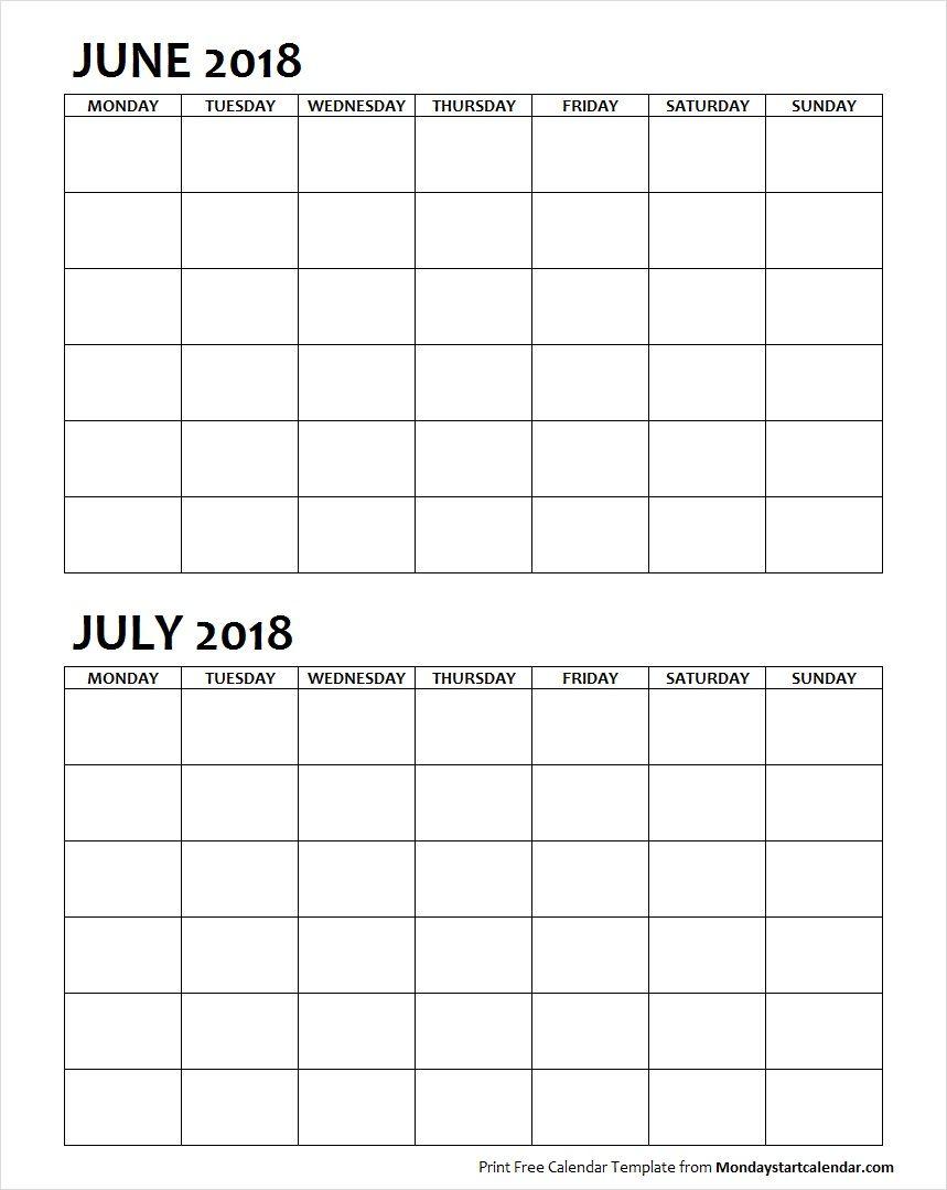 Two Month June July 2018 Calendar Blank | Calendar June inside Two Month Calendar Template