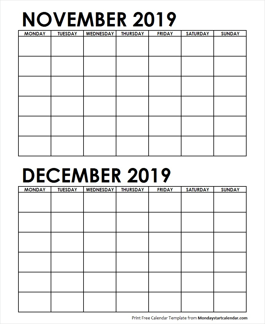 Two Month November December 2019 Calendar Blank Template intended for Blank Two Month Calendar