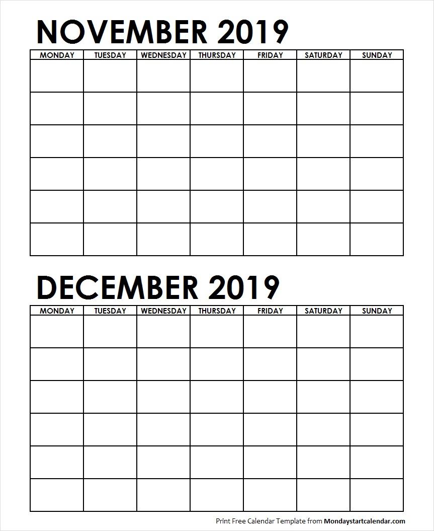 Two Month November December 2019 Calendar Blank Template intended for Two Month Calendar Template