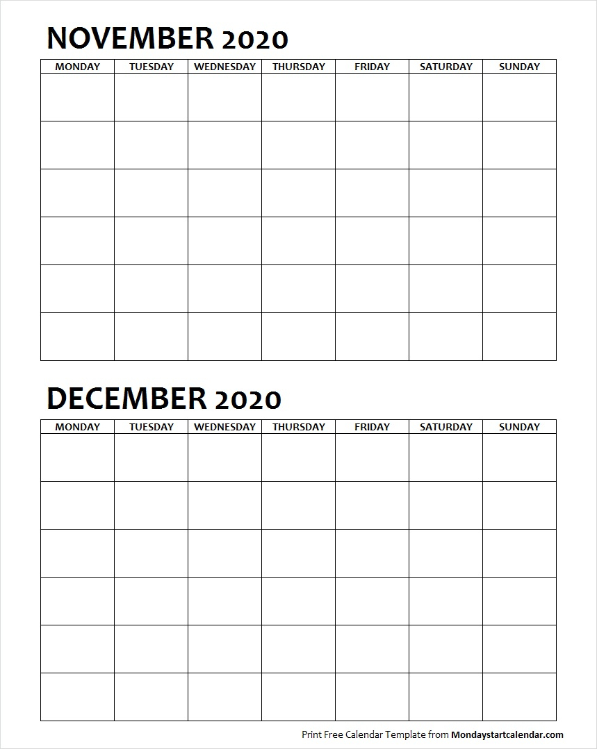 Two Month November December 2020 Calendar Blank intended for Two Month Calendar November December 2020