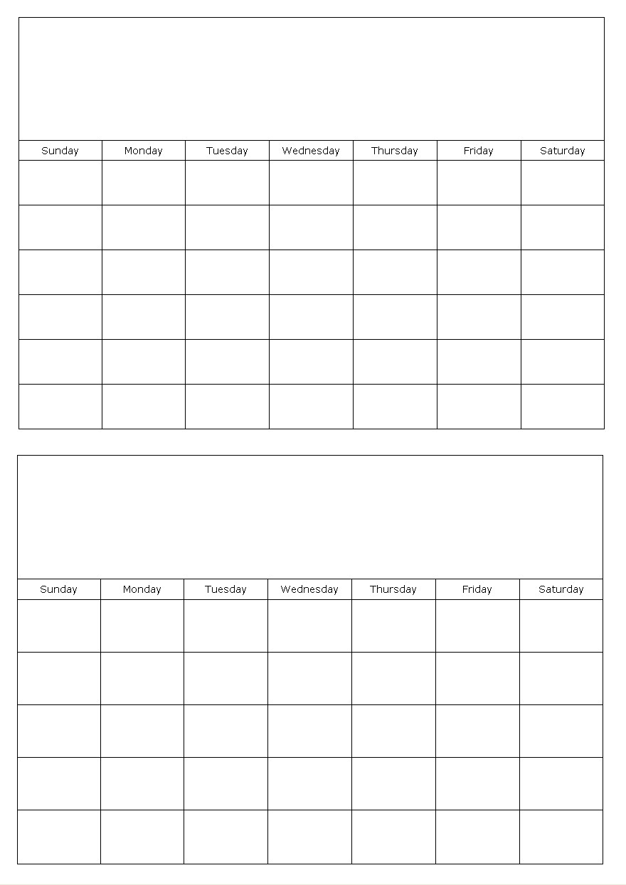 Two Months On A Page Blank Calendar Template for Blank 2 Month Calendar