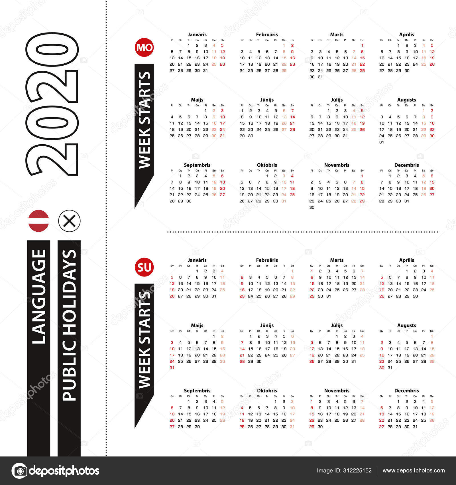 Two Versions Of 2020 Calendar In Latvian, Week Starts From within Monday Through Sunday Calendar