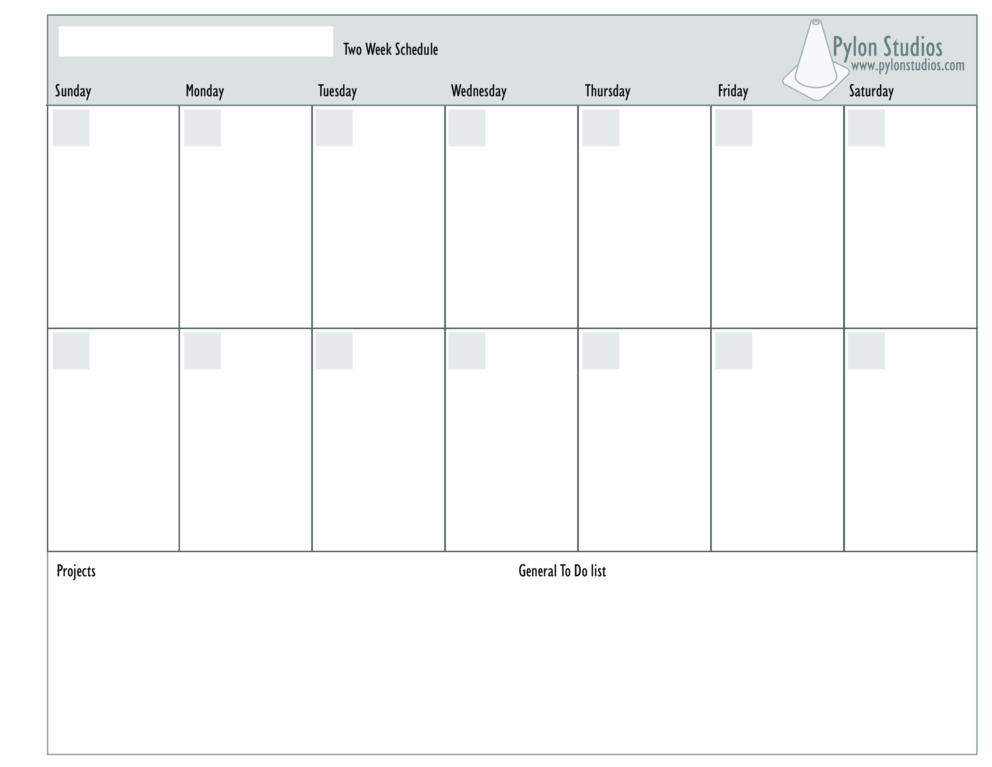 Two Week Schedule Template  Topa.mastersathletics.co for Print 2 Week Calendar