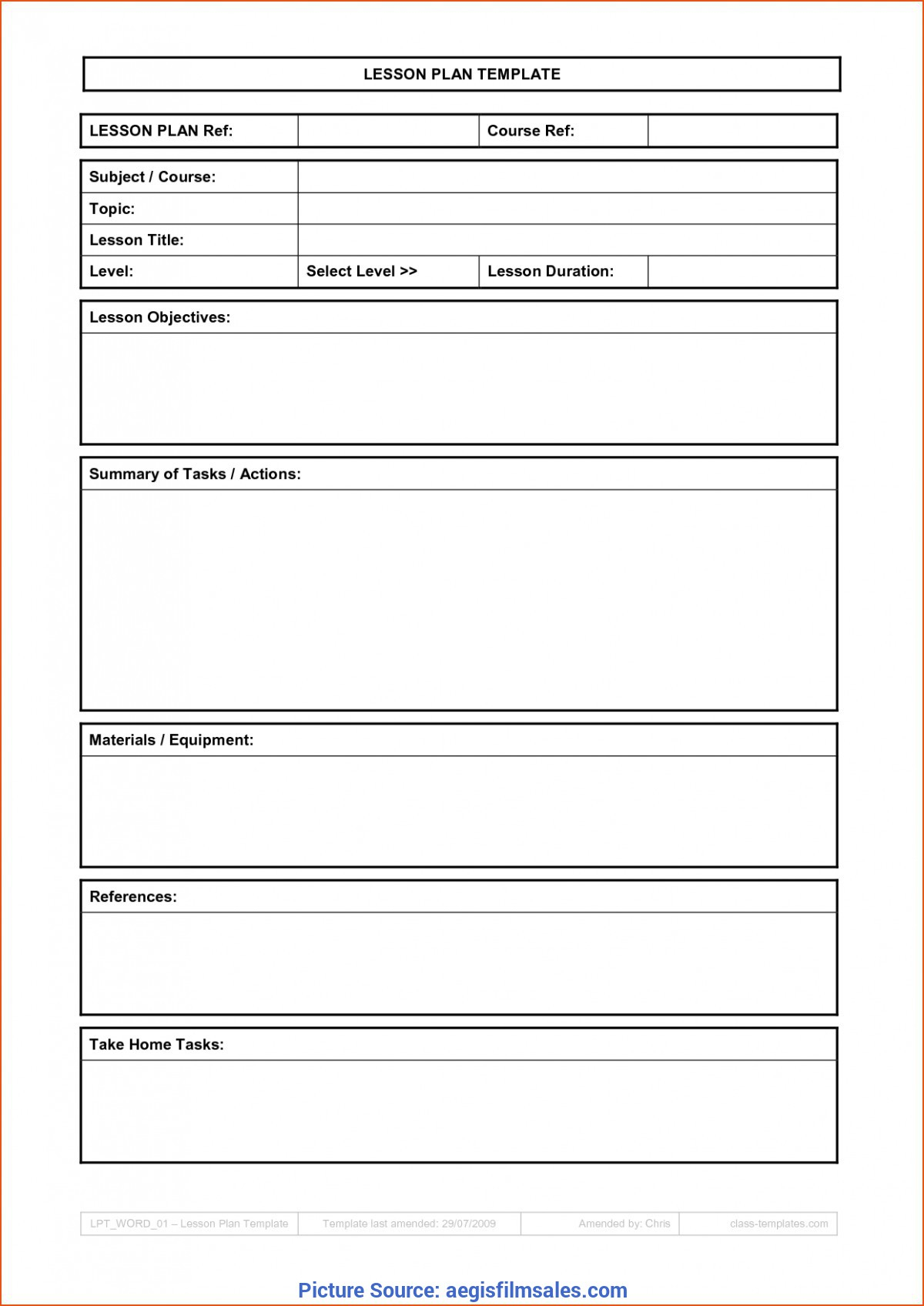 Typical Simple Blank Lesson Plan Template Basic Lesson Plan in Blank Training Plan Template