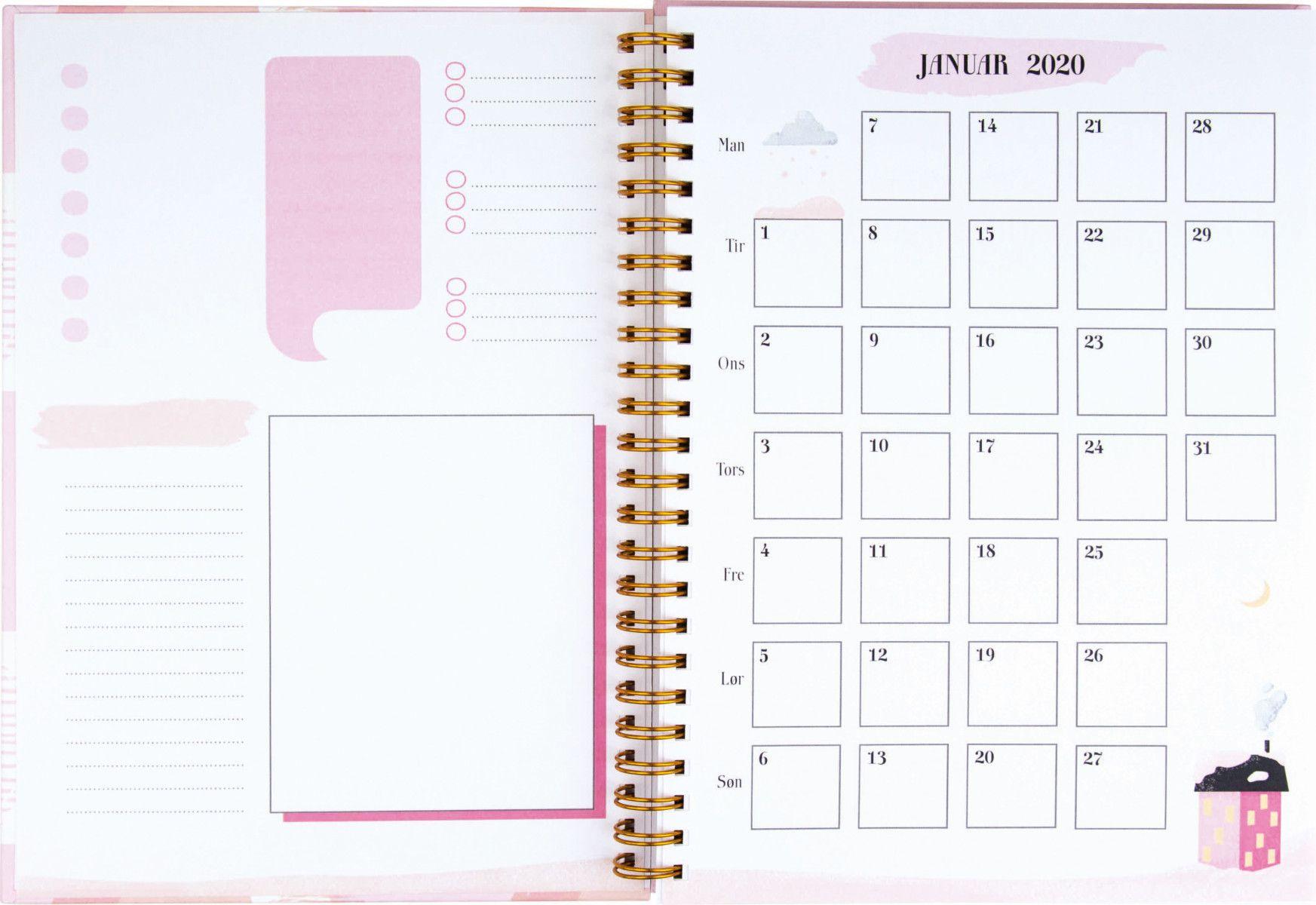 Ukekalender Grieg A5 Lifeplanner Rosa 2020 with Norsk Ukekalender 2020
