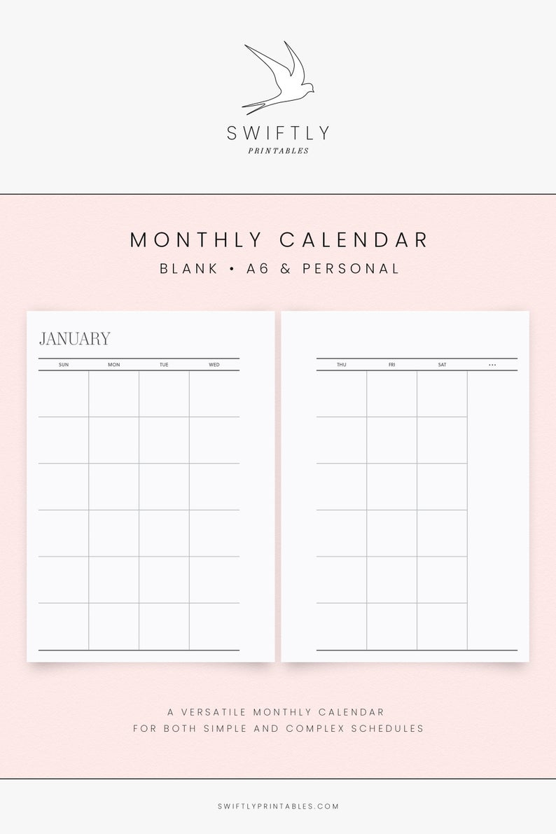 Undated Monthly Calendar Printable Planner | Blank Perpetual Sun Mon Start  Month Inserts For Modern Minimalists | A6 & Personal Spreads throughout Printable Perpetual Monthly Calendar