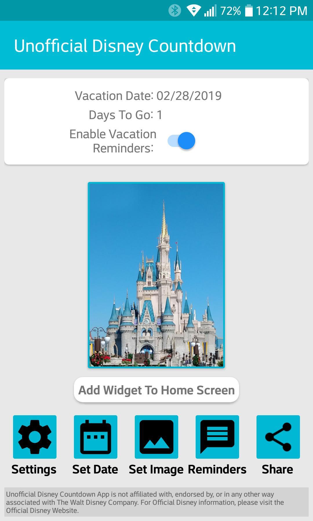 Unofficial Disney Countdown For Android  Apk Download regarding Disney Countdown Widget