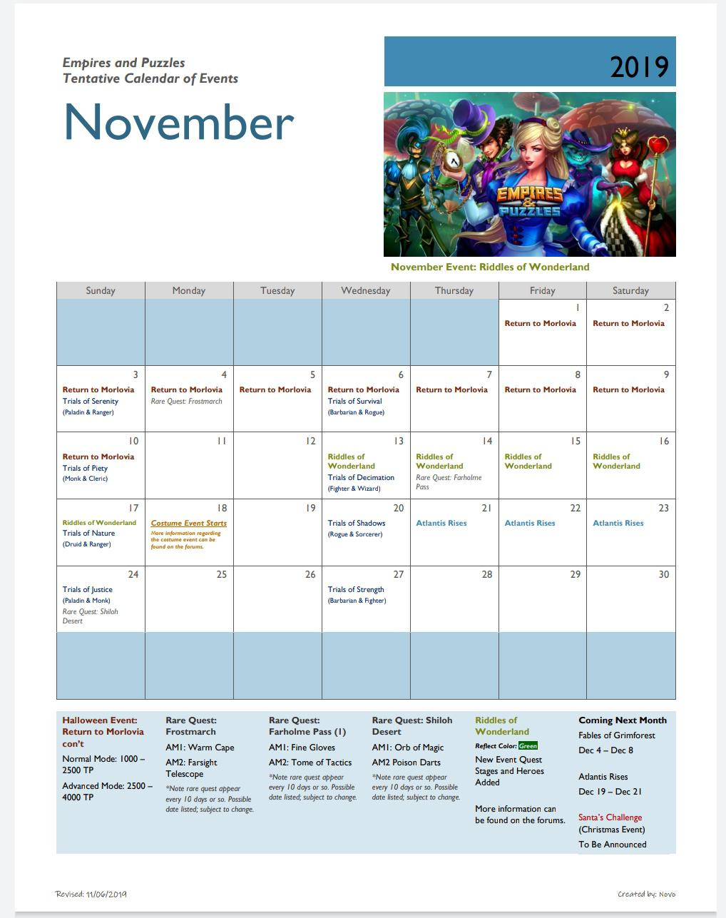 Upated November Calendar : Empiresandpuzzles pertaining to Calendar Empires And Puzzles