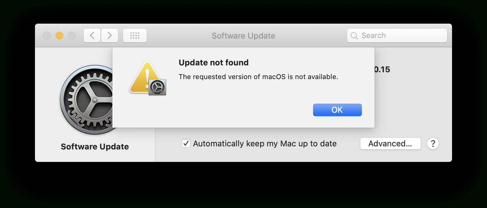 Update Not Found. The Requested Version Of Macos Is Not within Mac Calendar Icon Not Updating