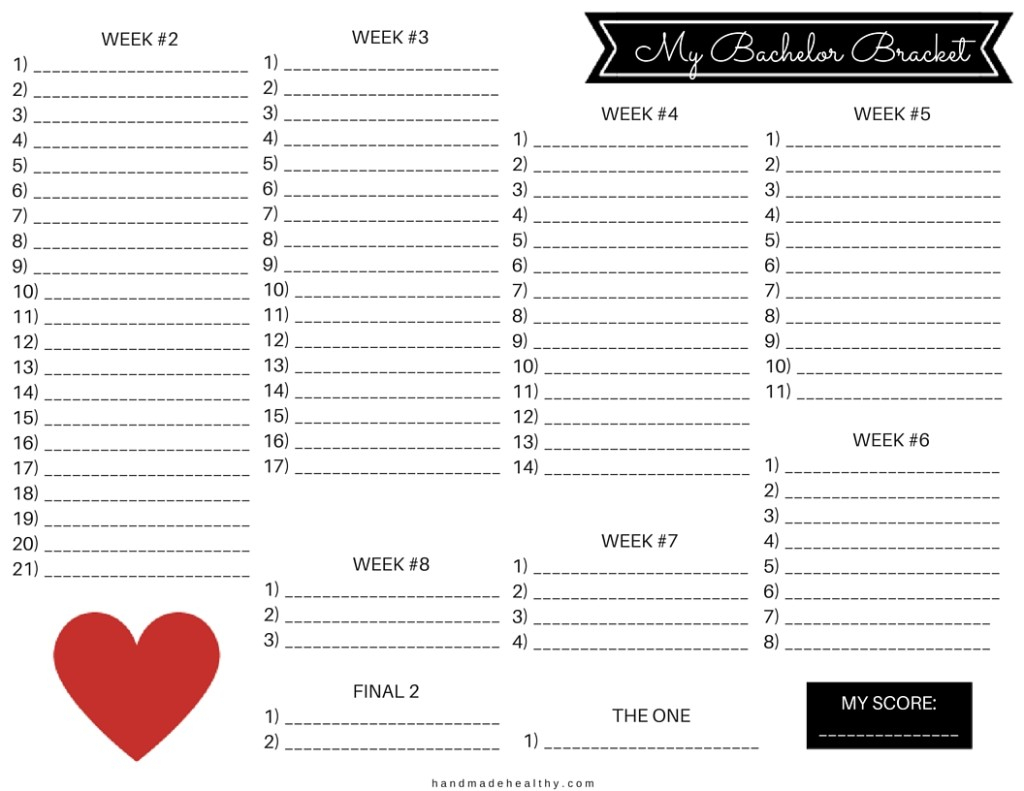 Updated!] My Bachelor Bracket Printable – Handmade Healthy for Bachelor Bracket Printable
