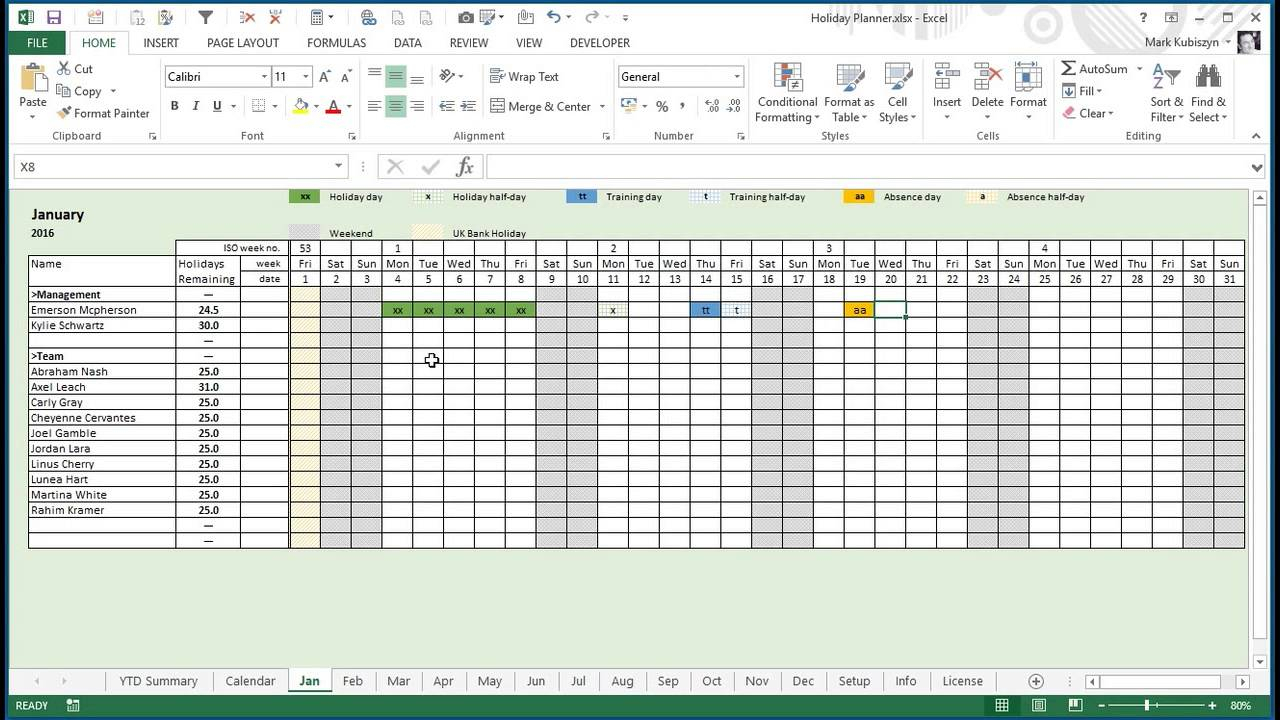 Vacation Chart Excel  Bobi.karikaturize for Annual Leave Calendar Template