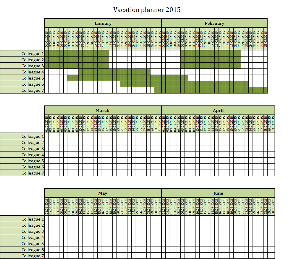 Vacation Planner 2015 Excel Template – Free To Download in Vacation Calendar Template