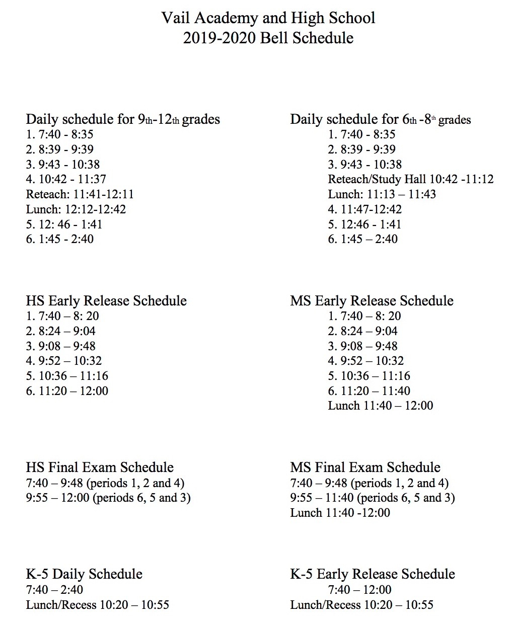 Vail Academy And High School | Bell Schedules inside Vail Academy And High School Calendar