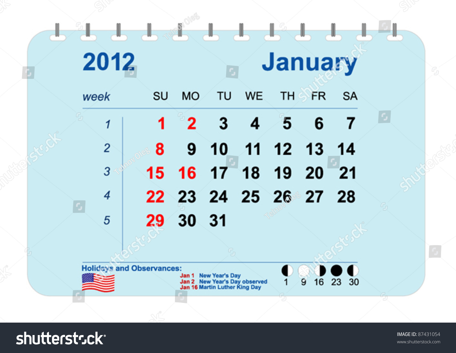 Vector Calendar 2012 Phases Moon Numbering Stock Vector for January 16 Holidays & Observances