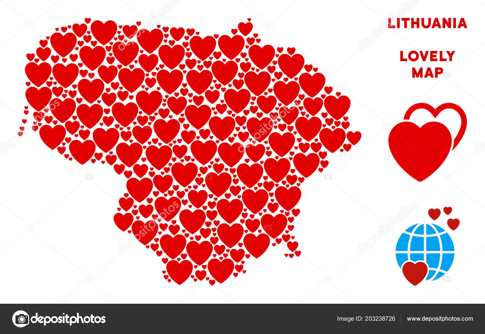 Vector Lovely Lithuania Map Composition Of Hearts — Stock throughout Heart Map Template