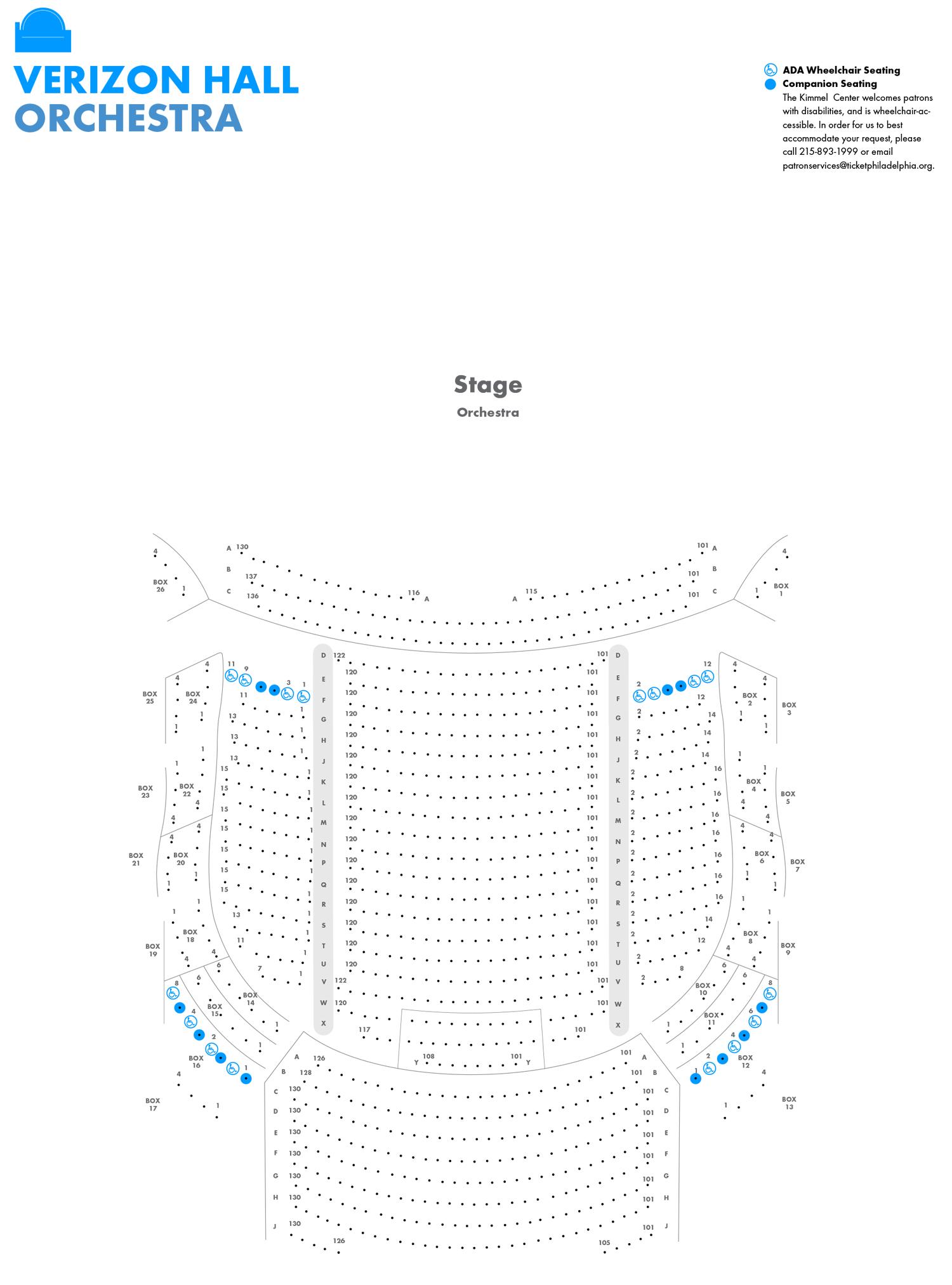 Verizon Hall Seating Charts  Kimmel Center pertaining to Verizon Center Seating Chart