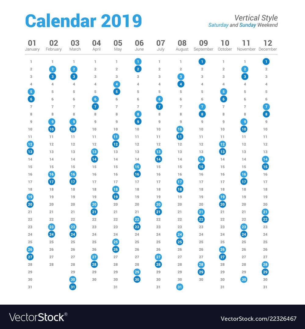 Vertical 2019 Calendar Saturday And Sunday Weekend within Saturday To Friday Calendar