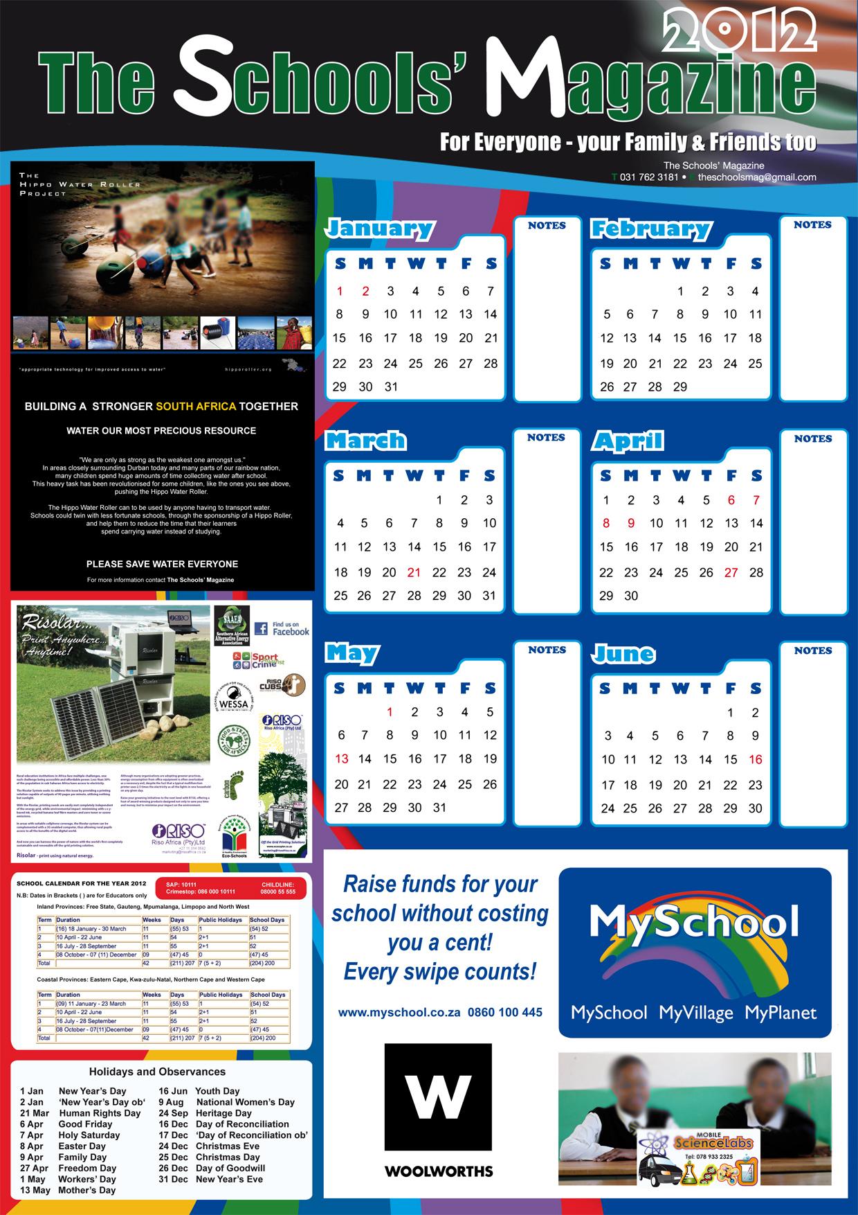Wall Calendar – Educational Winners in Eastern Cape School Calendar