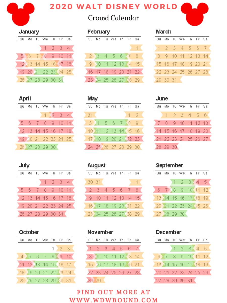 Walt Disney World Crowd Calendar 2020  | | Disney World regarding Printable Disney Calendar 2020