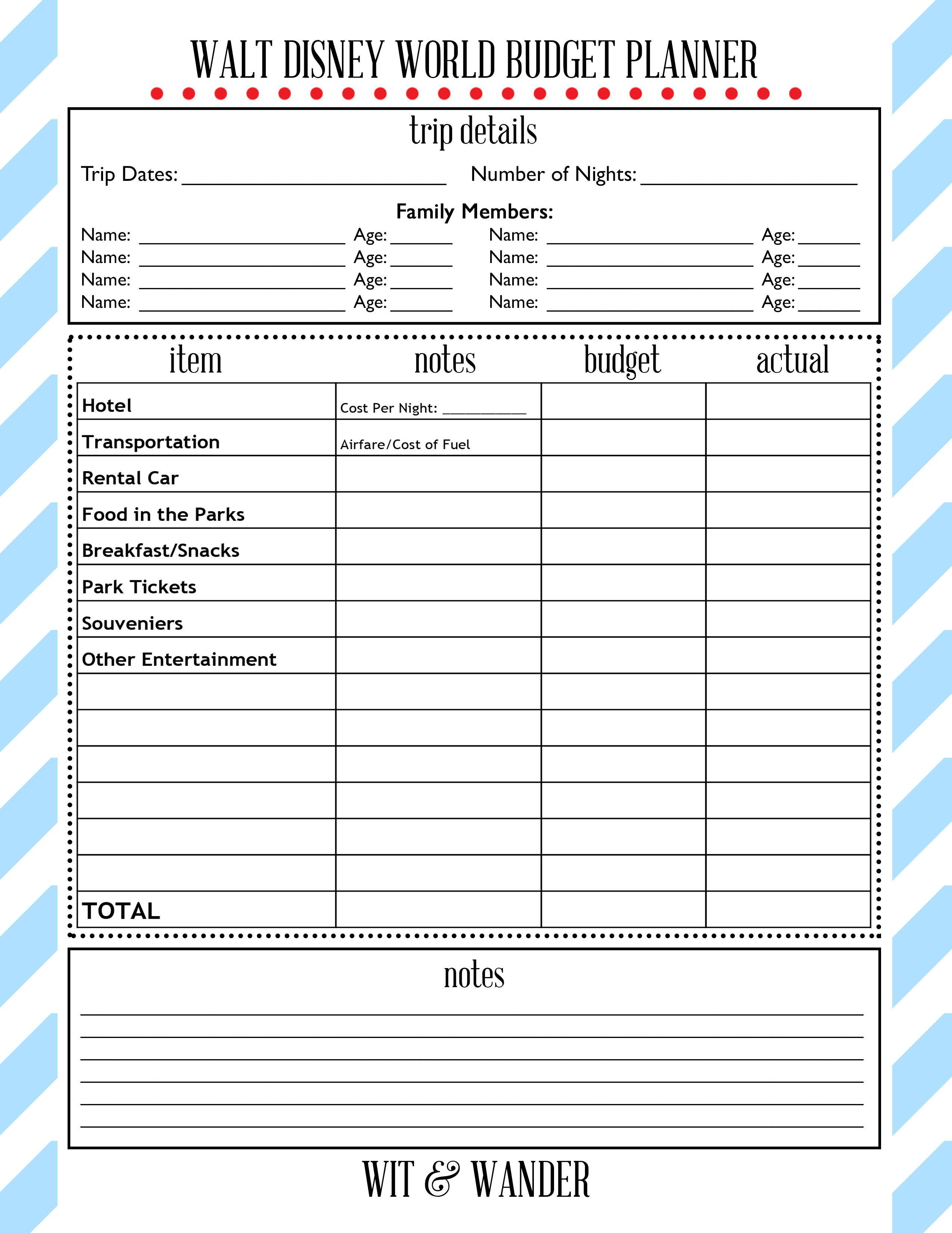 Walt Disney World Free Printables | Disney | Hacer Agenda inside Printable Disney Itinerary