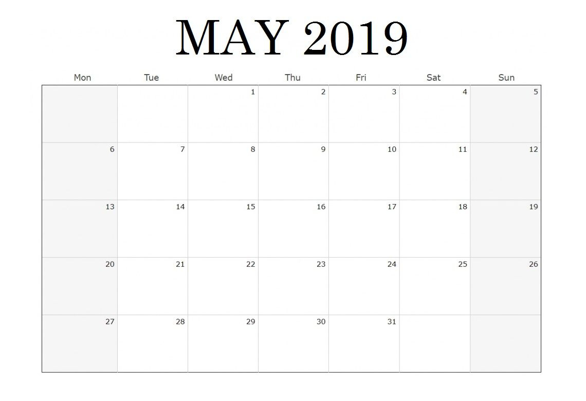 Waterproof May 2019 Blank Calendar | Blank Calendar Template throughout Waterproof Calendar January 2020