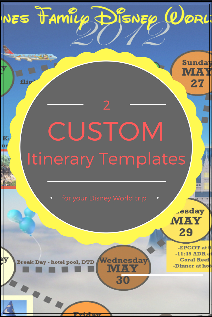 Wdw Itinerary Templates  Free & Printable  Available In within Disney Vacation Itinerary Template