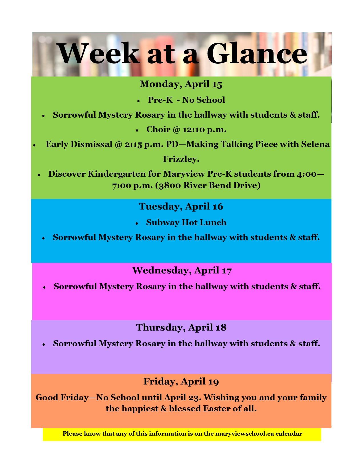 Week At A Glance | Maryview School pertaining to Dawe School Calendar