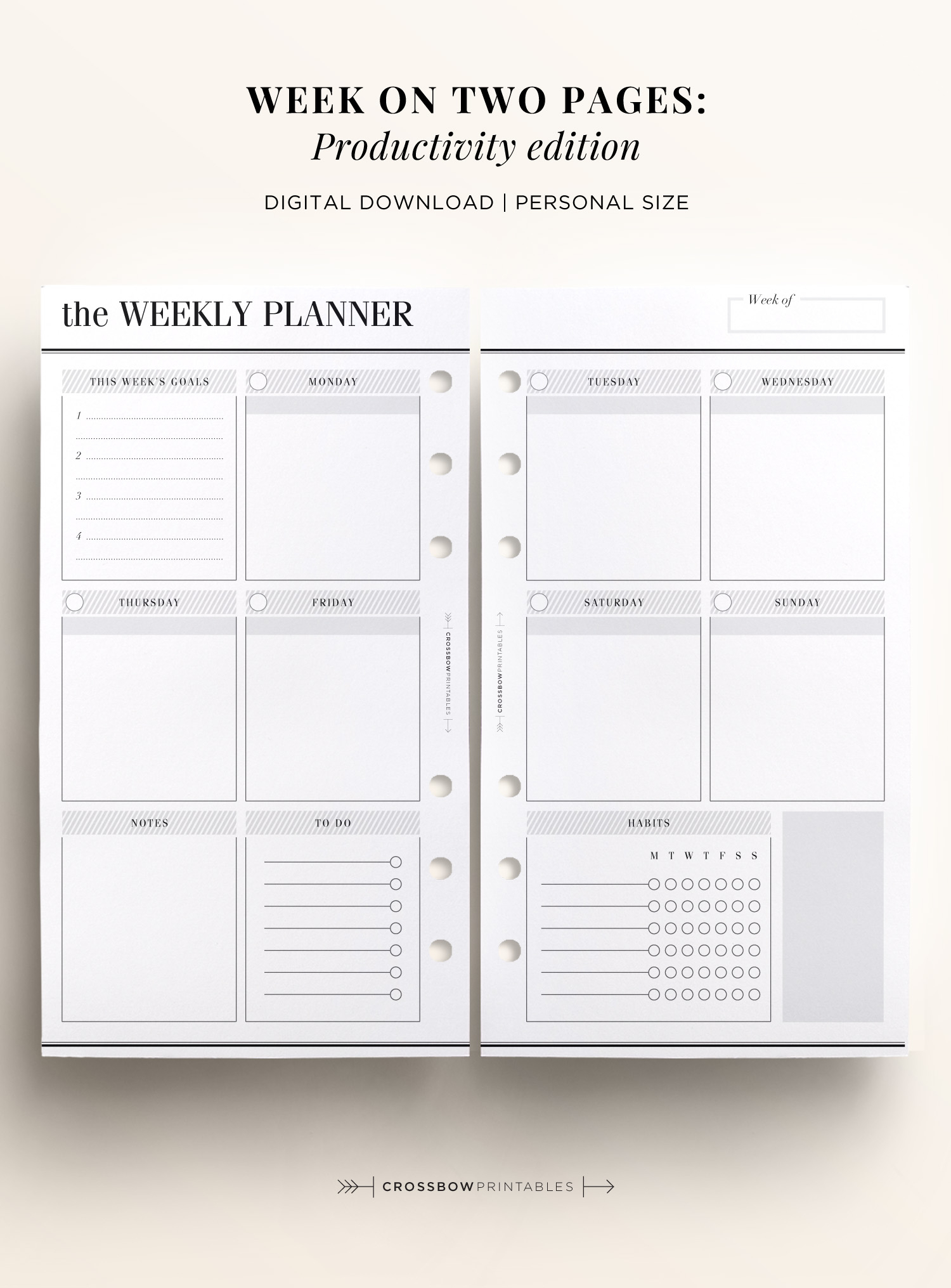 Week On Two Pages | Productivity Edition: Personal Printable Calendar intended for Printable Calendar By Week