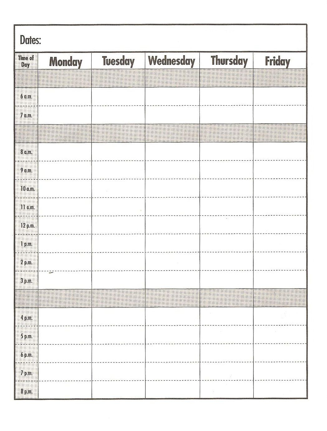 Weekday #schedule Templateprint Out #education #school with regard to Weekday Calendar Printable