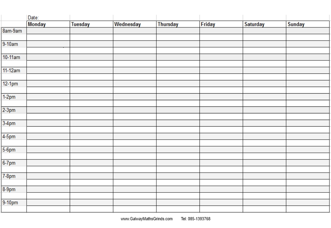 Weekday Schedule With Time Slots  Calendar Inspiration Design with Weekly Schedule With Time Slots