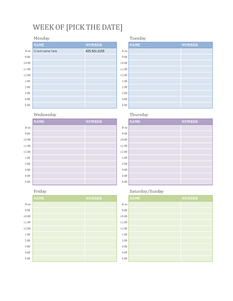 Weekly Appointment Calendar  How To Make A Weekly with regard to Appointment Calendar Printable