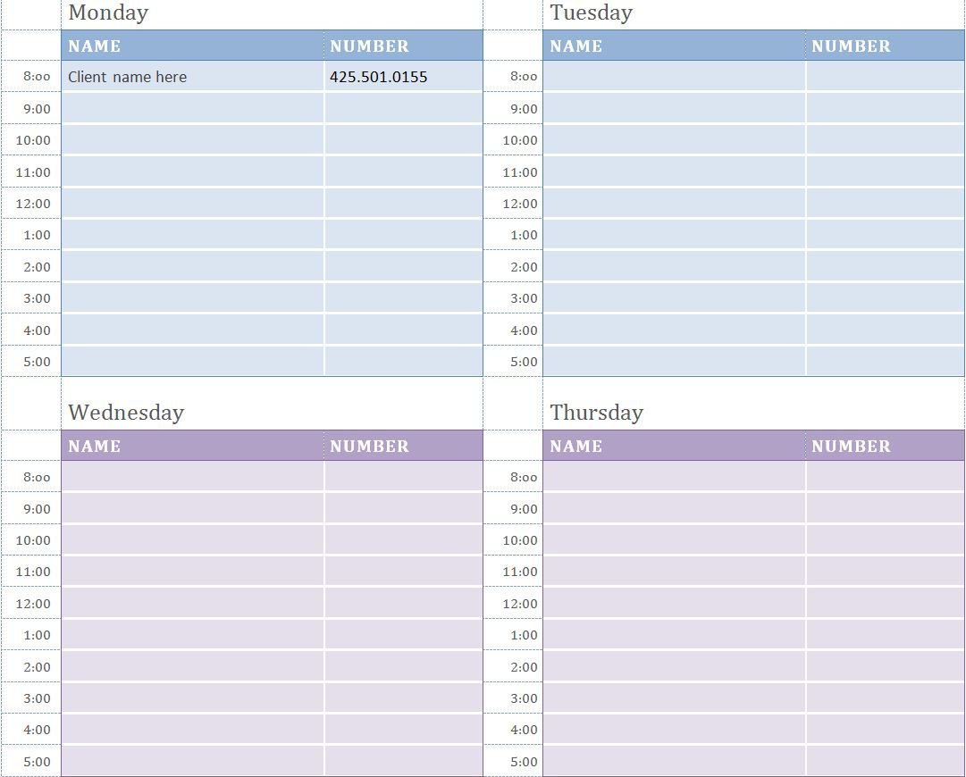 Weekly Appointment Calendar | Weekly Appointment Calendar throughout Time And Date Weekly Calendar