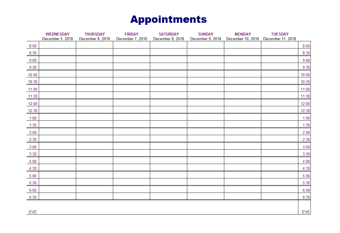 Weekly Appointment Schedule Template  Bolan in Daily Calendar Template 30 Minute Increments