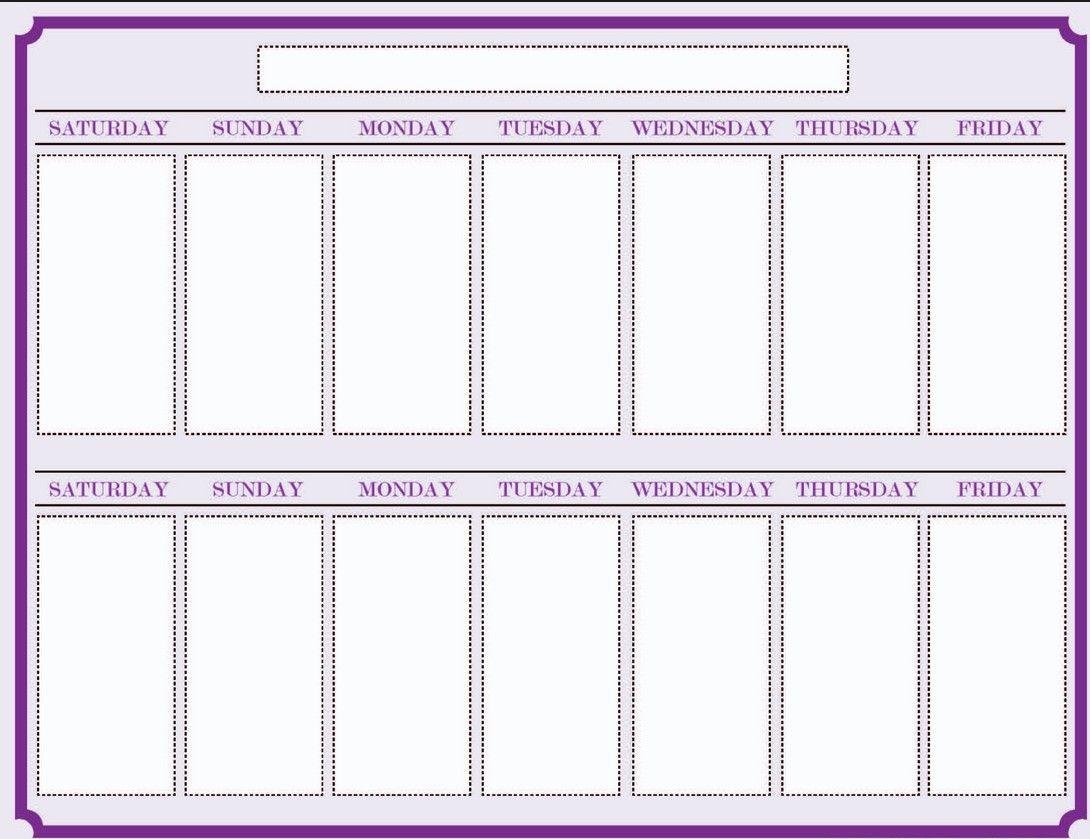 Weekly Blank Calendar Template 2 | Worksheets | Blank in Two Week Blank Calendar
