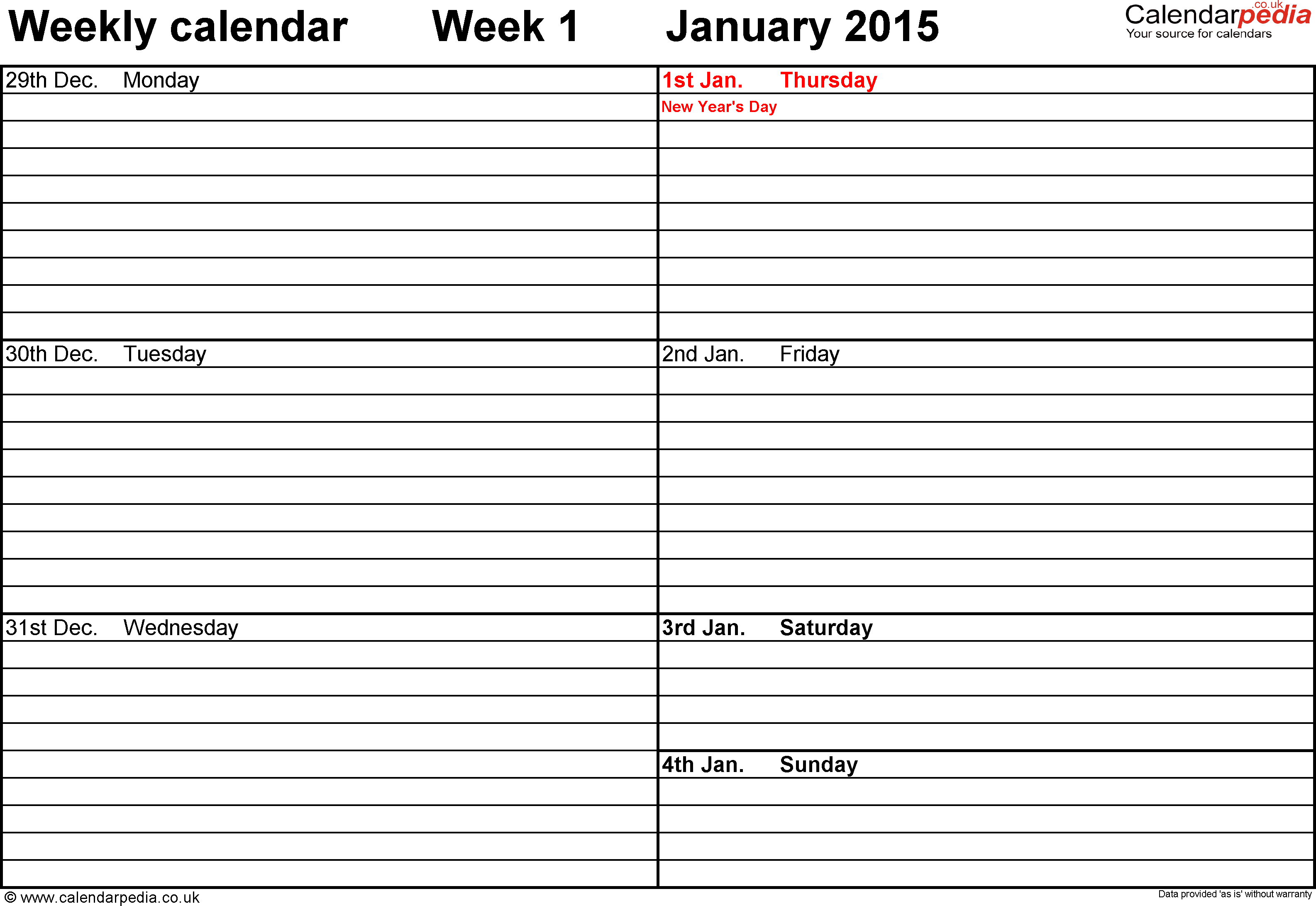 Weekly Calendar 2015 Printable  Bolan.horizonconsulting.co intended for Printable Monthly Calendar 2015