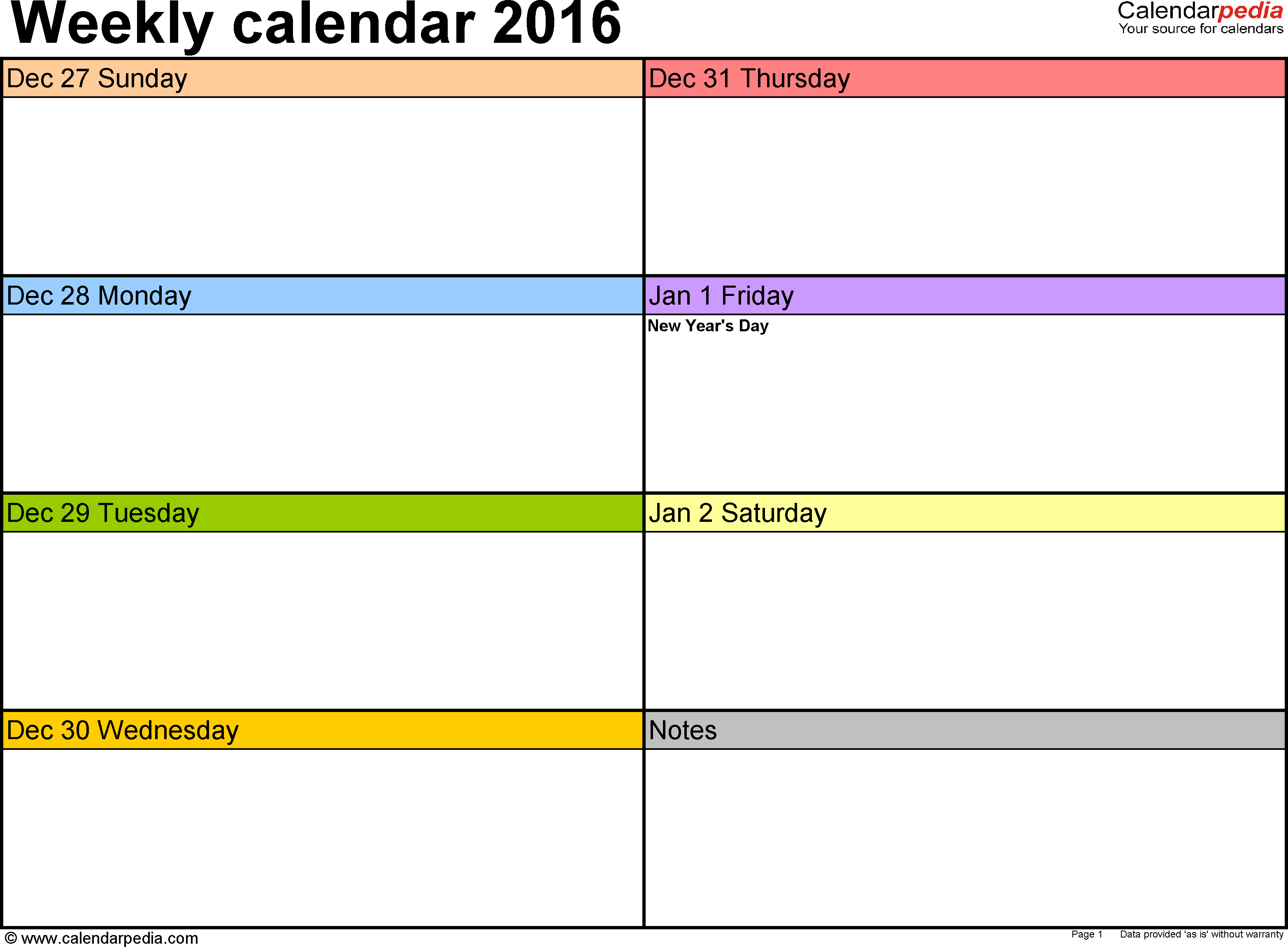 Weekly Calendar 2016: Template For Pdf Version 6, Landscape within Monday Through Friday Calendar Template Word