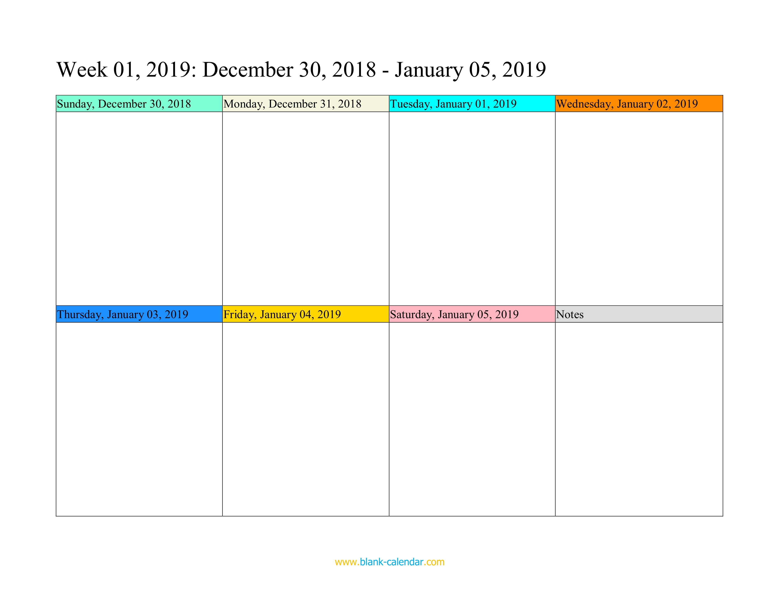 Weekly Calendar 2019 (Word, Excel, Pdf) inside Weekday Calendar Printable
