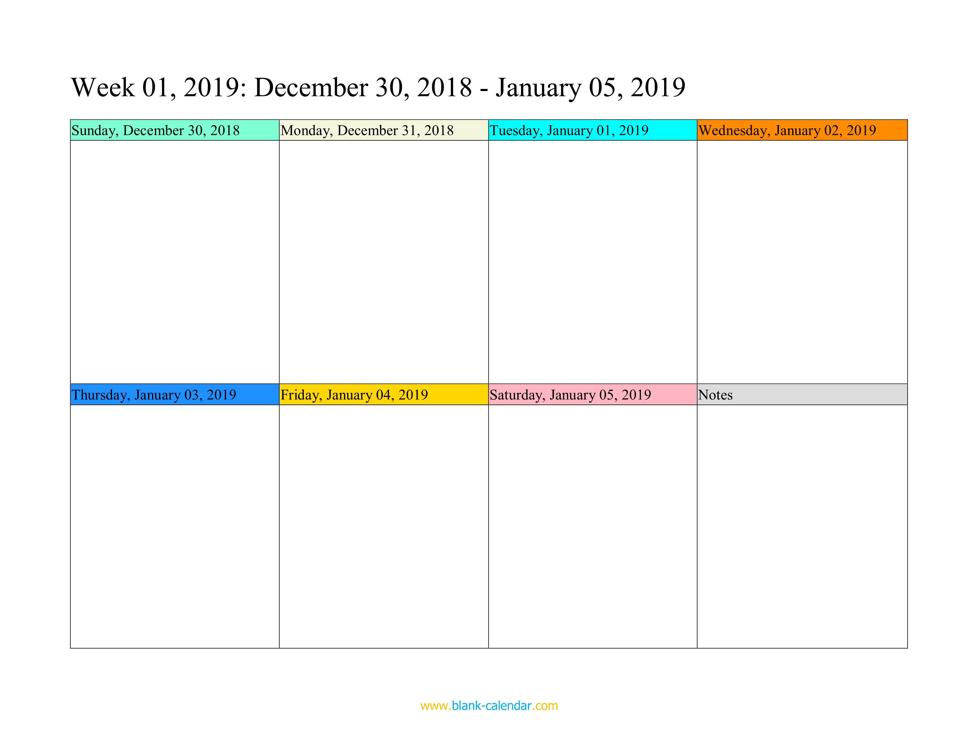 Weekly Calendar 2019 (Word, Excel, Pdf) regarding Blank Weekly Calender