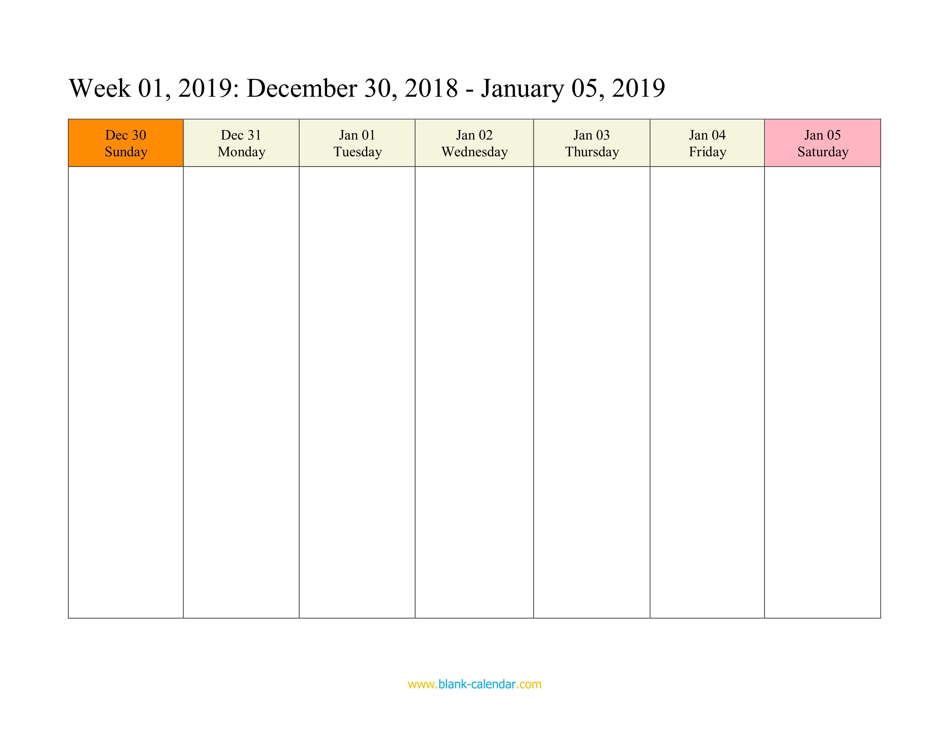 Weekly Calendar 2019 (Word, Excel, Pdf) with One Week Calendar Printable