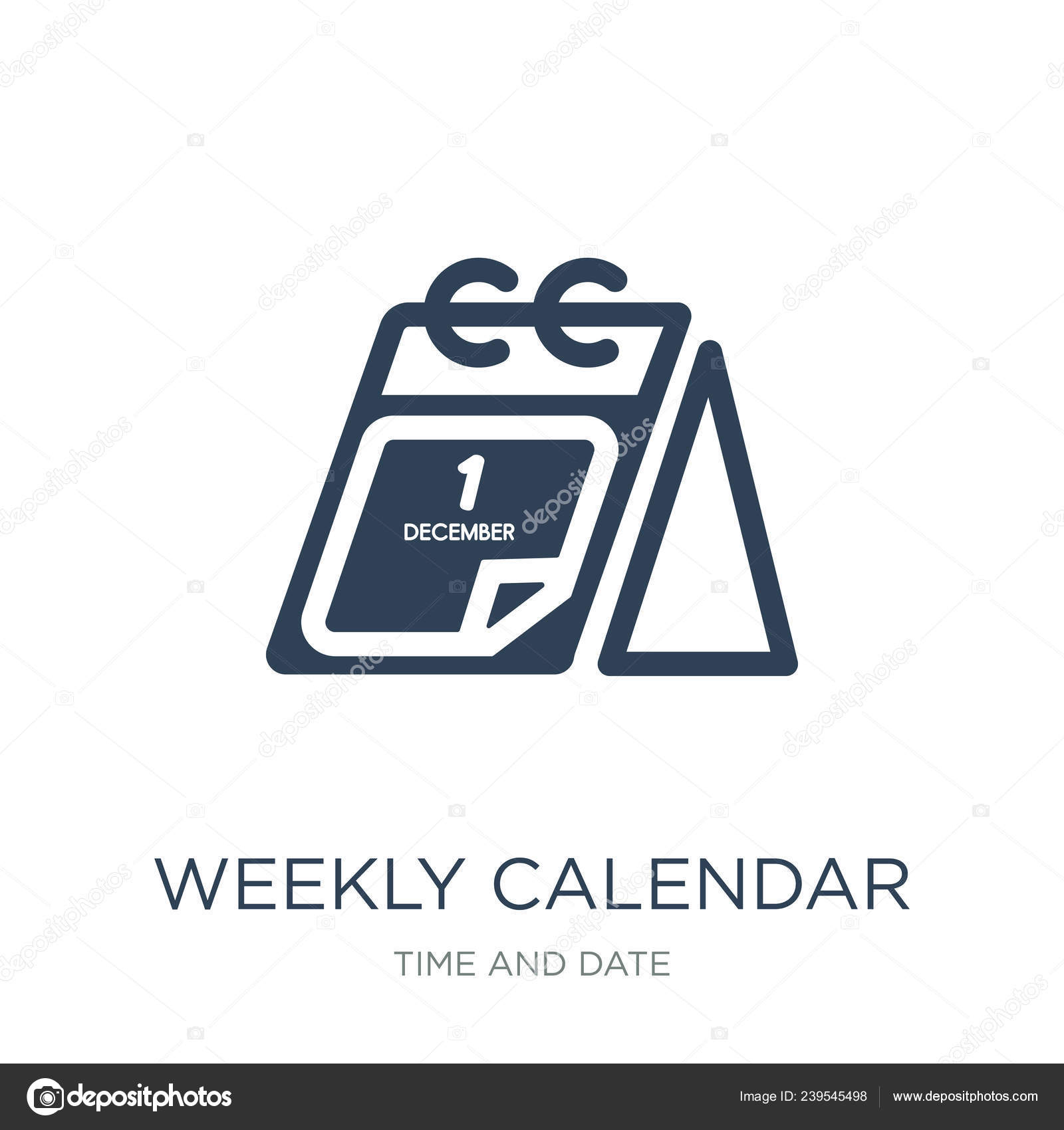 Weekly Calendar Icon Vector White Background Weekly Calendar with regard to Time And Date Weekly Calendar