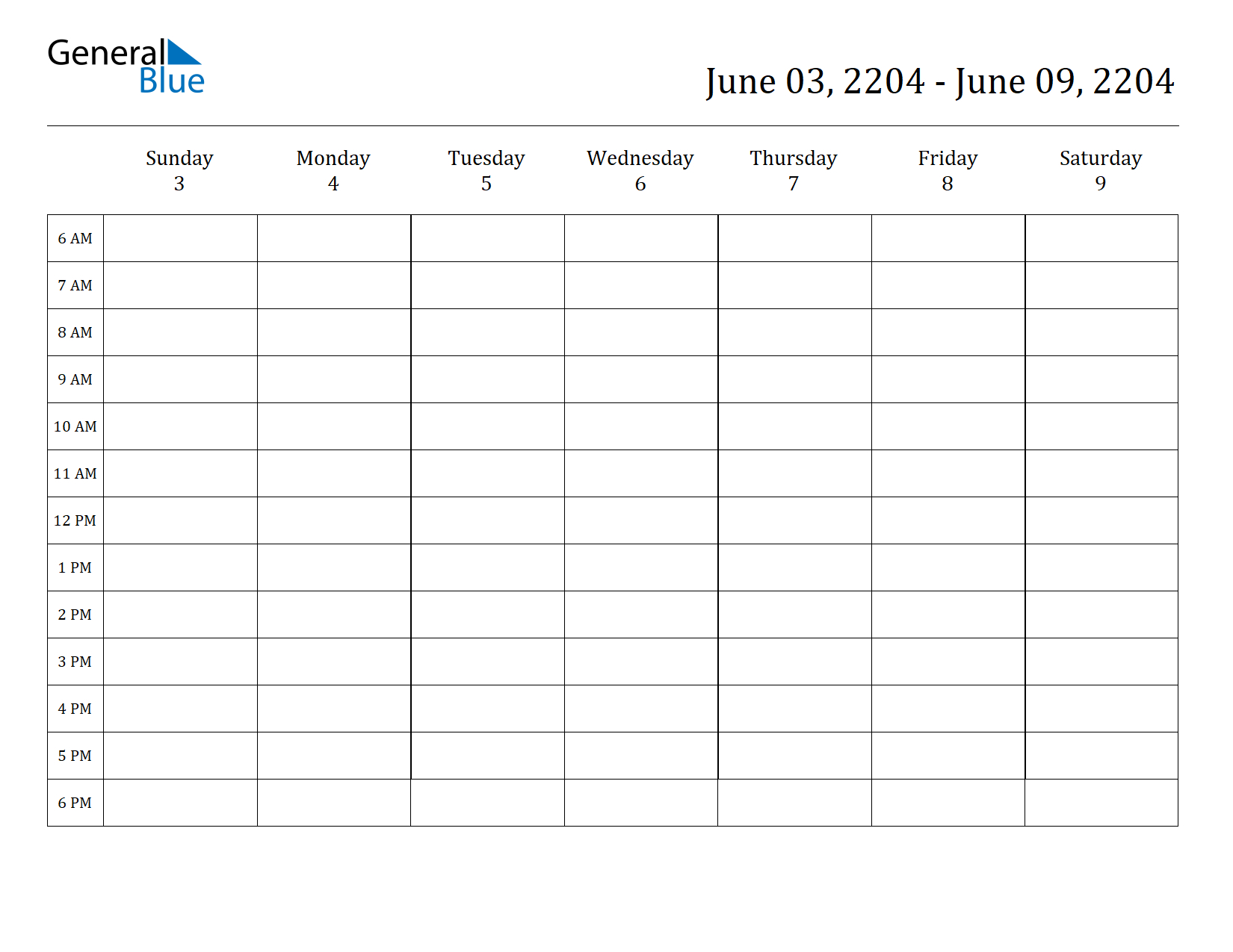 Weekly Calendar  June 3, 2204 To June 9, 2204  (Pdf, Word in Hourly Weekly Calendar