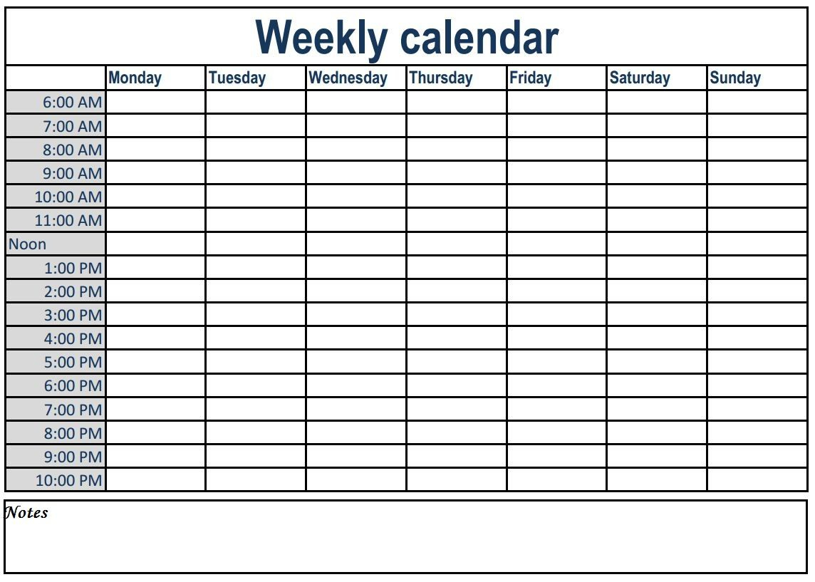 Weekly Calendar With Time Slots  Bolan.horizonconsulting.co with Printable Weekly Calendar With Time Slots