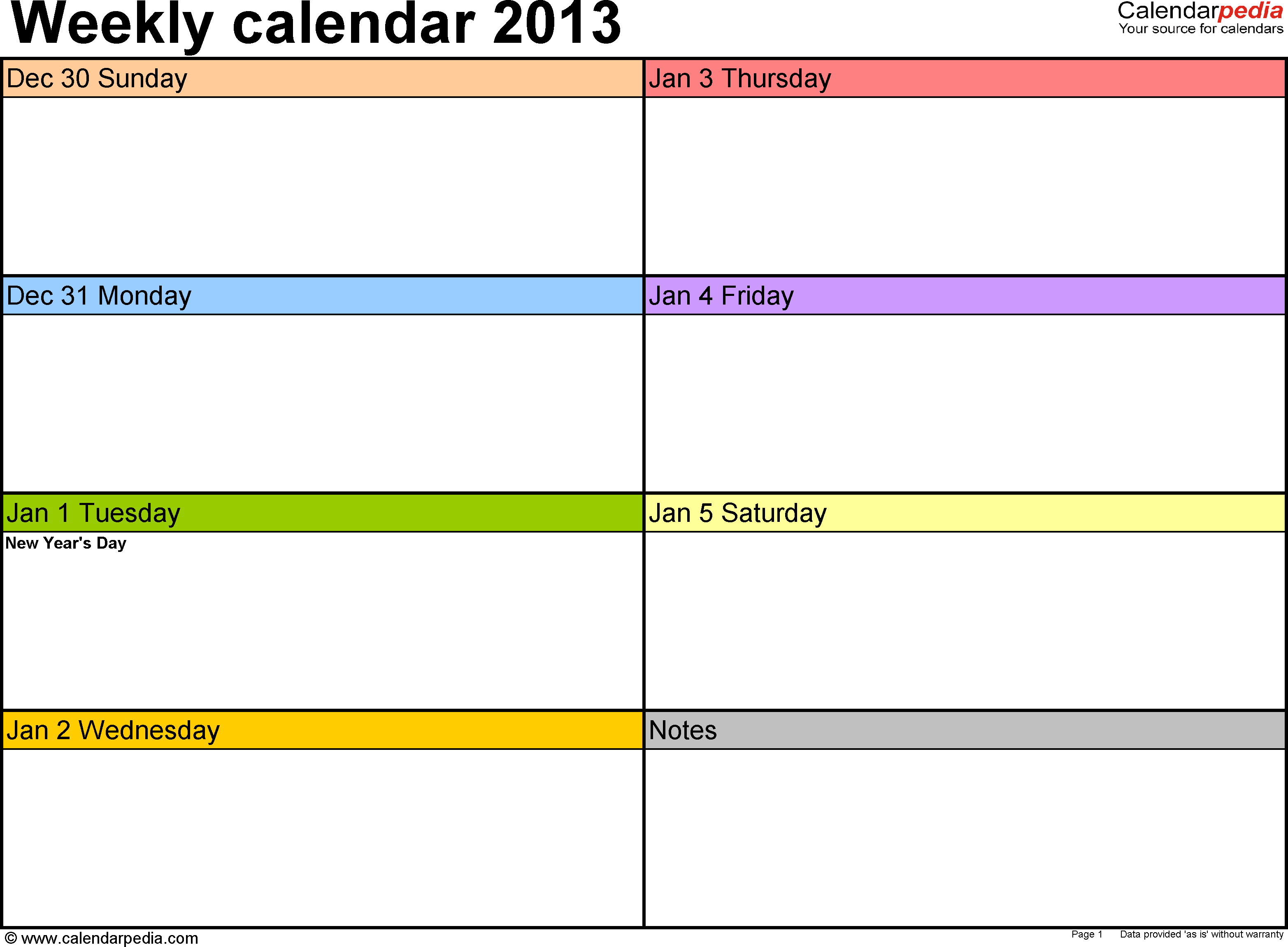 Weekly Calendars 2013 For Pdf  4 Free Printable Templates in 7 Days A Week Planner