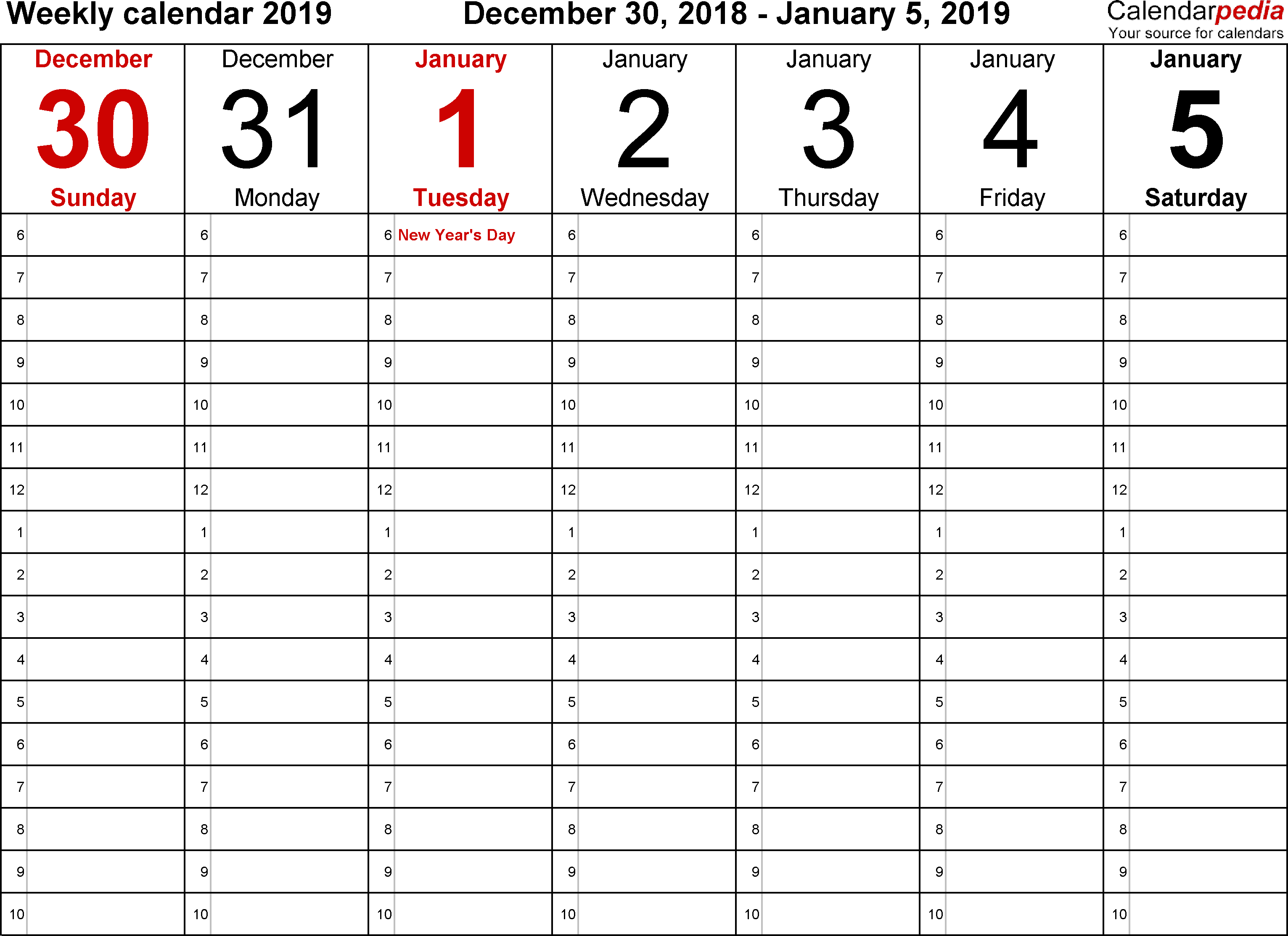 Weekly Calendars 2019 For Excel  12 Free Printable Templates intended for 7 Day Weekly Calendar Template