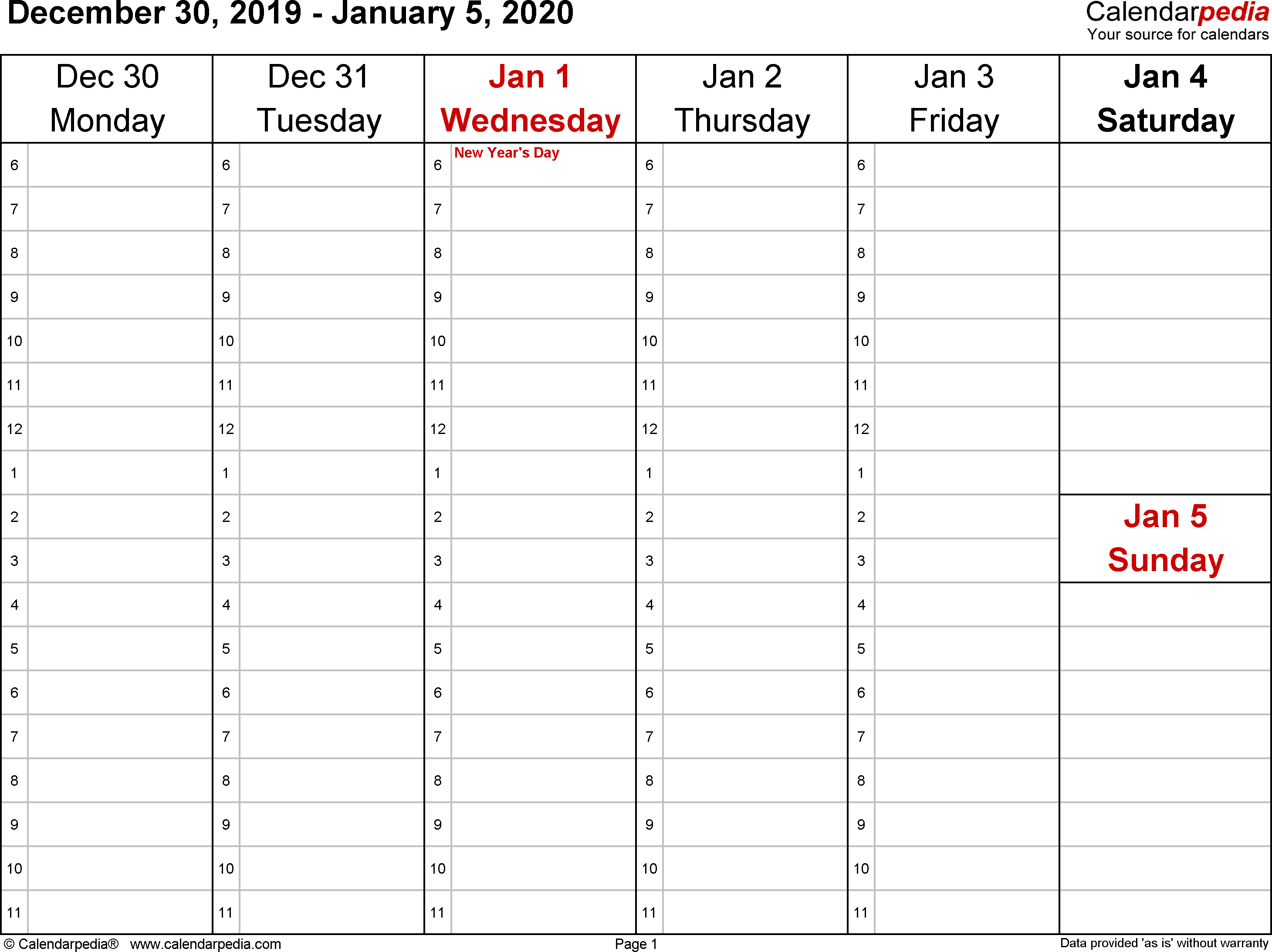 Weekly Calendars 2020 For Word  12 Free Printable Templates pertaining to Weekday Calendar Printable