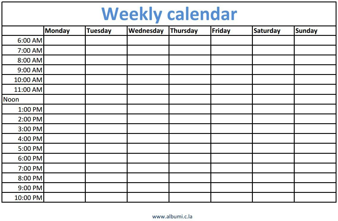 Weekly Calendars With Times Printable | Daily Calendar in Weekly Calendar Template With Times