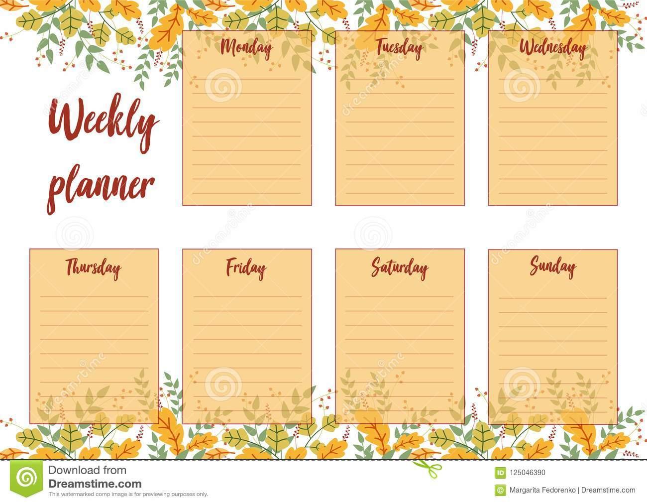 Weekly Planner Stock Vector. Illustration Of Saturday regarding Sunday Through Saturday Schedule Template