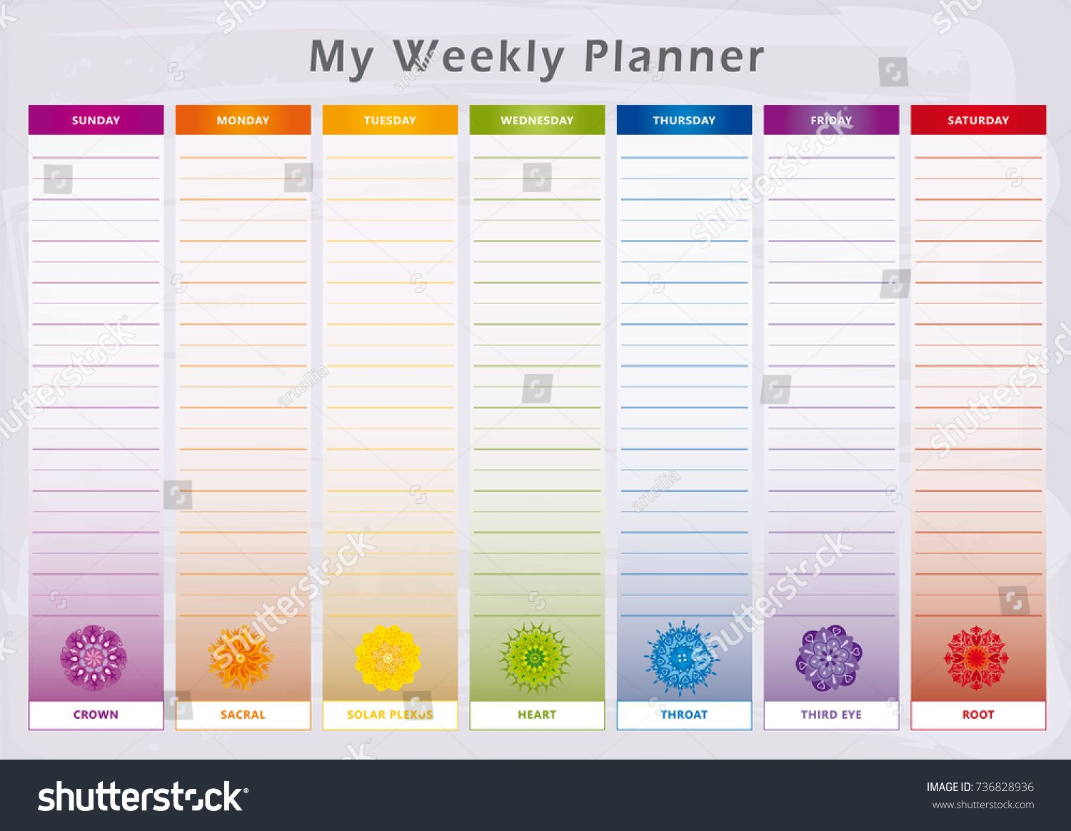 Weekly Planner With 7 Days And Corresponding Chakras In for 7 Days A Week Planner
