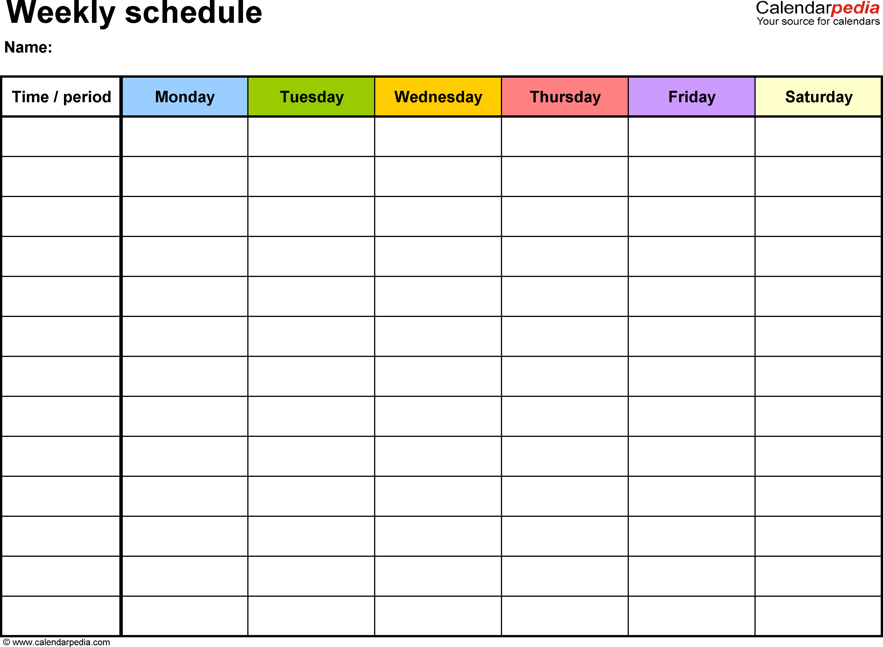 Weekly Printable Schedule  Topa.mastersathletics.co intended for Printable Blank Weekly Calendar